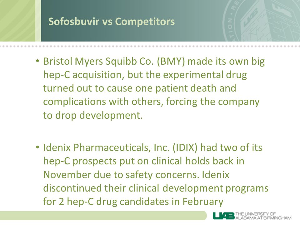 Bristol Myers Squibb Co. (BMY) made its own big hep-C acquisition, but the experimental drug turned out to cause one patient death and complications w
