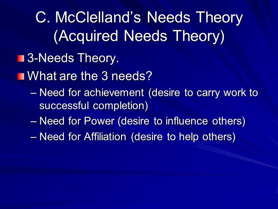 C. McClelland's Needs Theory (Acquired Needs Theory) 3-Needs Theory.
