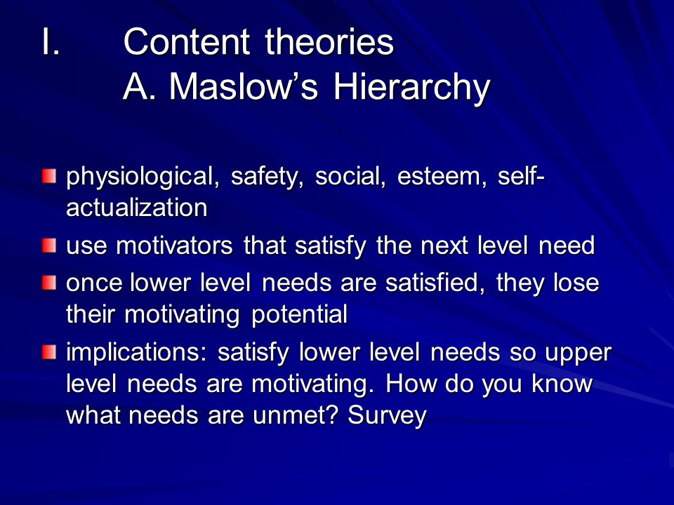 I.Content theories A.