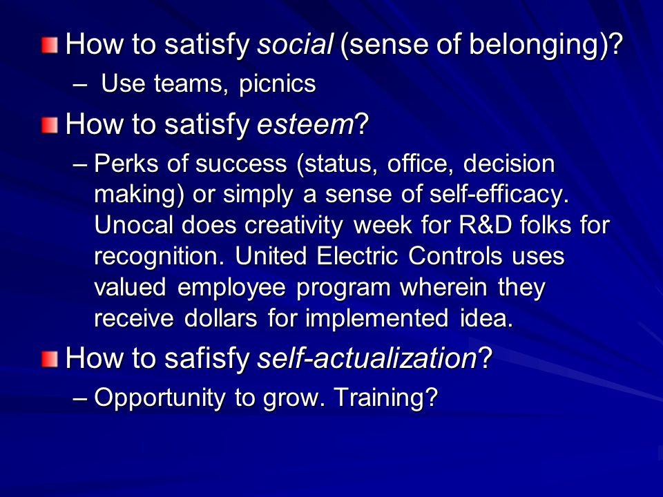 How to satisfy social (sense of belonging). – Use teams, picnics How to satisfy esteem.