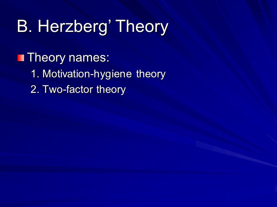 B. Herzberg' Theory Theory names: 1. Motivation-hygiene theory 2. Two-factor theory