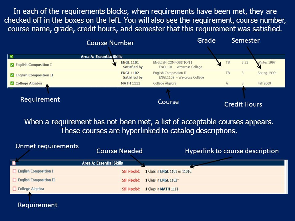 In each of the requirements blocks, when requirements have been met, they are checked off in the boxes on the left.