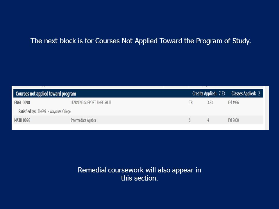 The next block is for Courses Not Applied Toward the Program of Study.