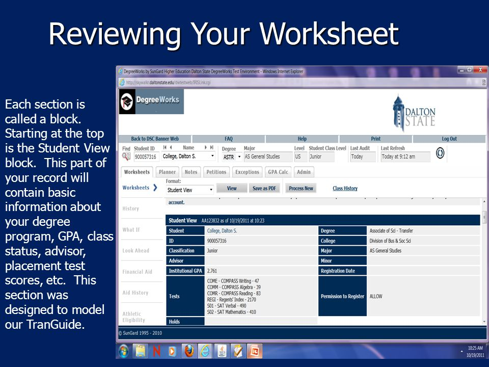 Reviewing Your Worksheet Each section is called a block.