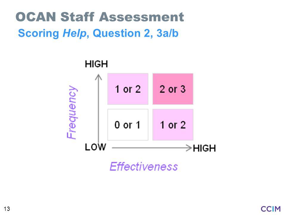 13 Scoring Help, Question 2, 3a/b OCAN Staff Assessment