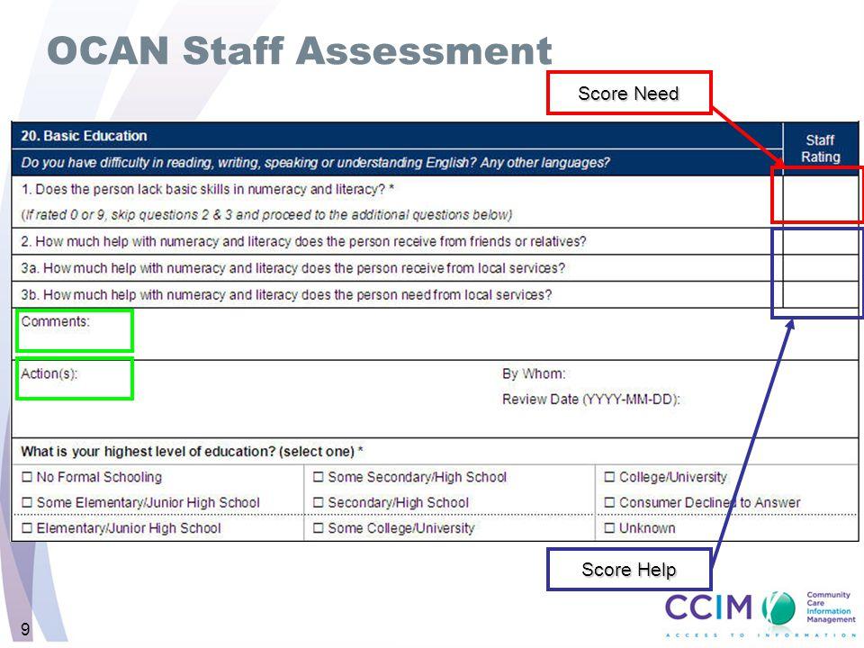 9 OCAN Staff Assessment Score Need Score Help