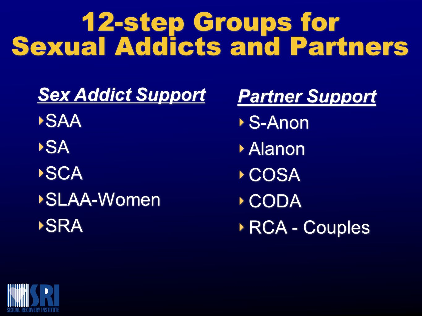 12-step Groups for Sexual Addicts and Partners 12-step Groups for Sexual Addicts and Partners Partner Support ‣ S-Anon ‣ Alanon ‣ COSA ‣ CODA ‣ RCA - Couples Partner Support ‣ S-Anon ‣ Alanon ‣ COSA ‣ CODA ‣ RCA - Couples Sex Addict Support ‣ ‣ SAA ‣ ‣ SA ‣ ‣ SCA ‣ ‣ SLAA-Women ‣ ‣ SRA Sex Addict Support ‣ ‣ SAA ‣ ‣ SA ‣ ‣ SCA ‣ ‣ SLAA-Women ‣ ‣ SRA
