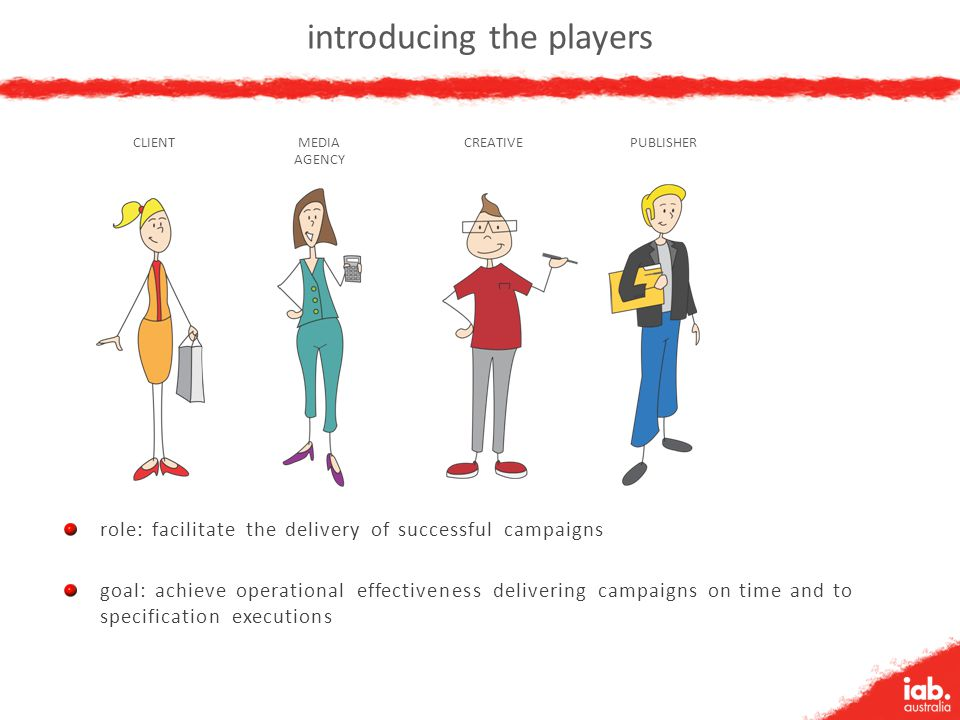 introducing the players PUBLISHERCREATIVEMEDIA AGENCY CLIENT role: facilitate the delivery of successful campaigns goal: achieve operational effective
