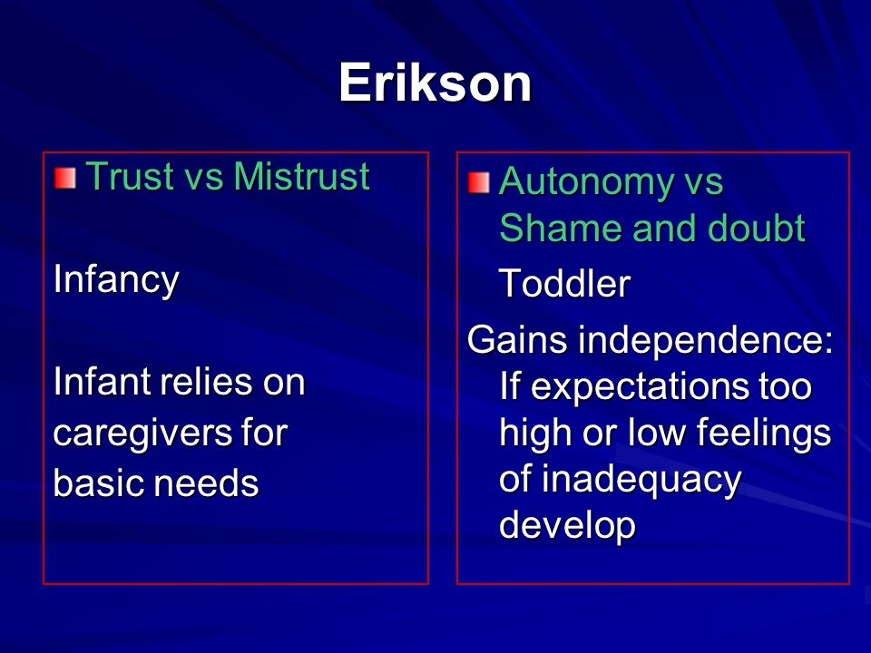 Erikson Trust vs Mistrust Infancy Infant relies on caregivers for basic needs Autonomy vs Shame and doubt Toddler Toddler Gains independence: If expectations too high or low feelings of inadequacy develop