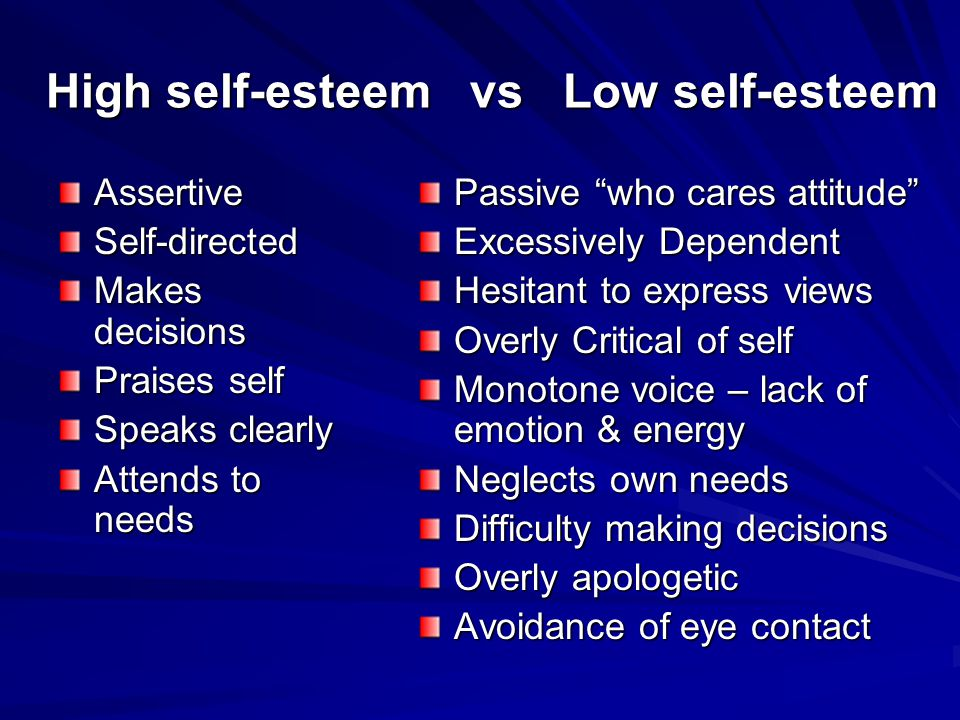 "High self-esteem vs Low self-esteem AssertiveSelf-directed Makes decisions Praises self Speaks clearly Attends to needs Passive ""who cares attitude"" E"