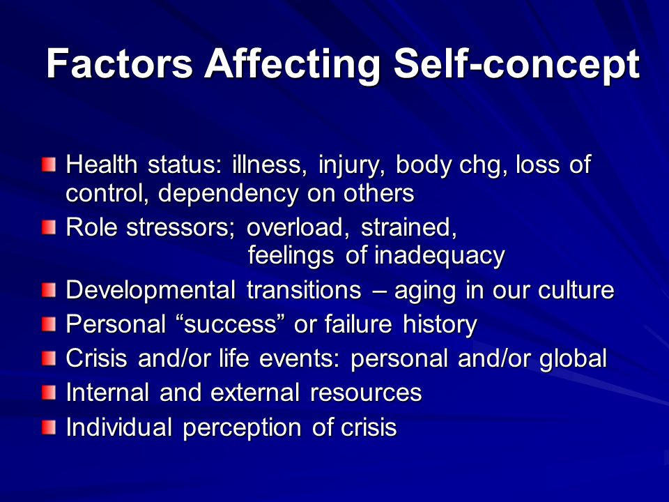 Factors Affecting Self-concept Health status: illness, injury, body chg, loss of control, dependency on others Role stressors; overload, strained, fee