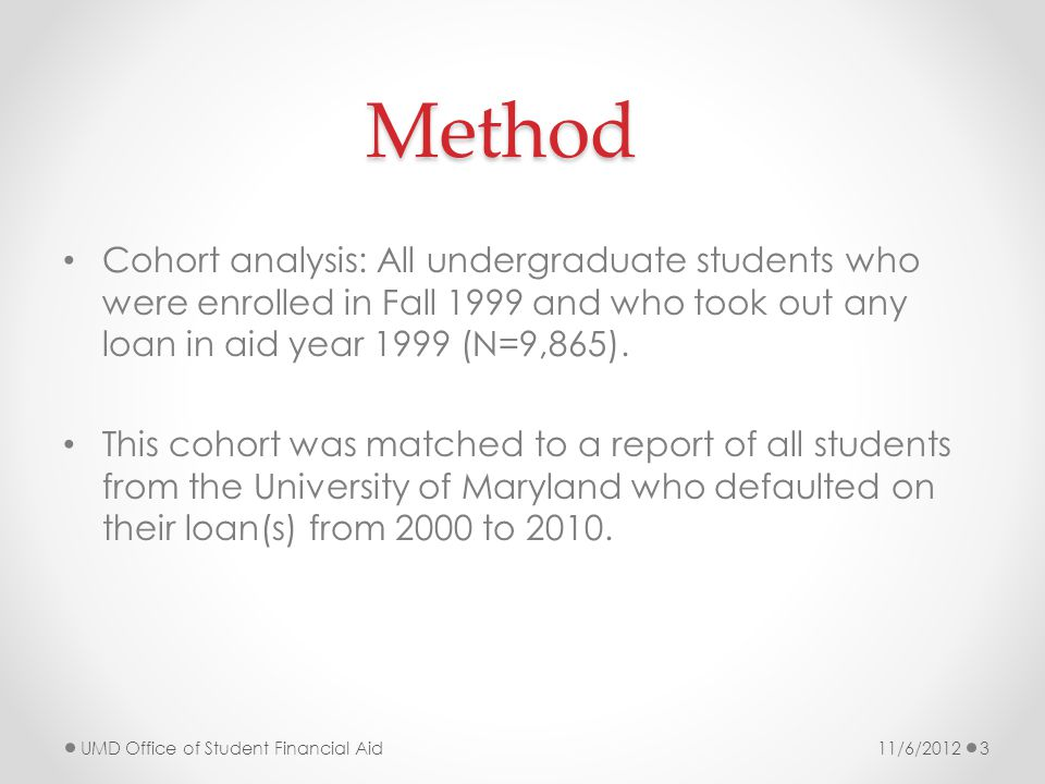 Method Cohort analysis: All undergraduate students who were enrolled in Fall 1999 and who took out any loan in aid year 1999 (N=9,865).