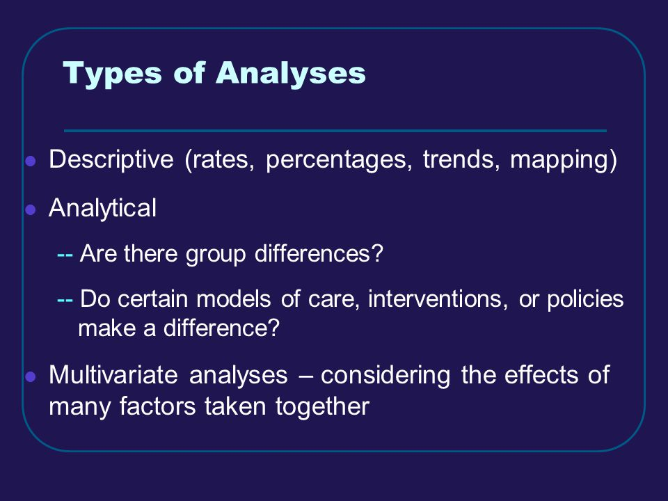 Types of Analyses Descriptive (rates, percentages, trends, mapping) Analytical -- Are there group differences.