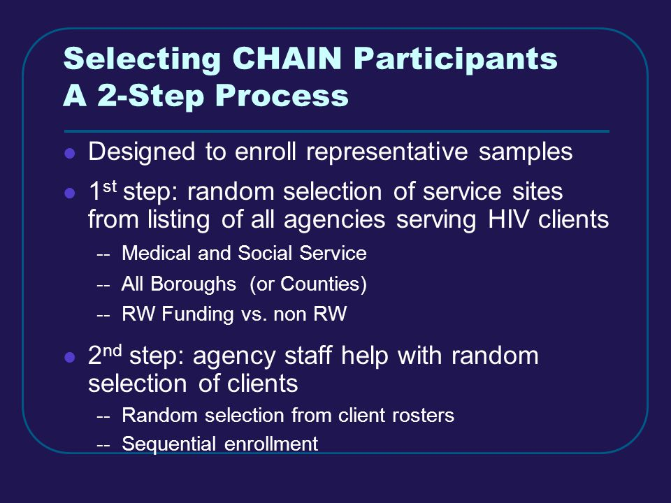Selecting CHAIN Participants A 2-Step Process Designed to enroll representative samples 1 st step: random selection of service sites from listing of all agencies serving HIV clients -- Medical and Social Service -- All Boroughs (or Counties) -- RW Funding vs.