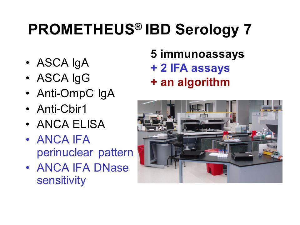 PROMETHEUS ® IBD Serology 7 ASCA IgA ASCA IgG Anti-OmpC IgA Anti-Cbir1 ANCA ELISA ANCA IFA perinuclear pattern ANCA IFA DNase sensitivity 5 immunoassays + 2 IFA assays + an algorithm