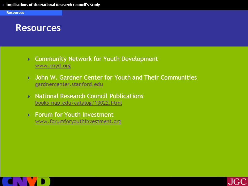  Implications of the National Research Council s Study Resources  Community Network for Youth Development      John W.
