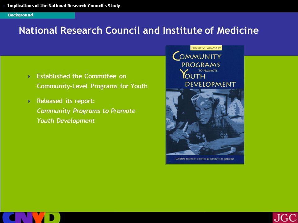  Implications of the National Research Council s Study National Research Council and Institute of Medicine  Established the Committee on Community-Level Programs for Youth  Released its report: Community Programs to Promote Youth Development Background