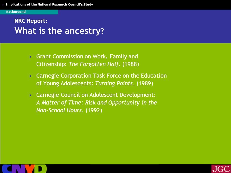  Implications of the National Research Council s Study NRC Report: What is the ancestry .