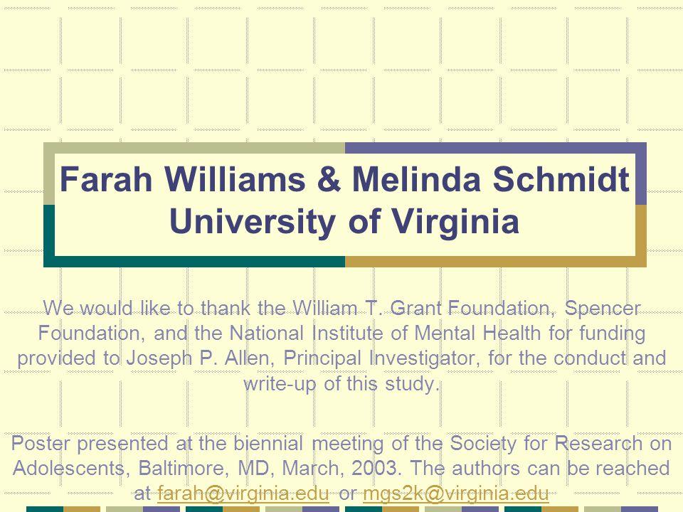 Farah Williams & Melinda Schmidt University of Virginia We would like to thank the William T.