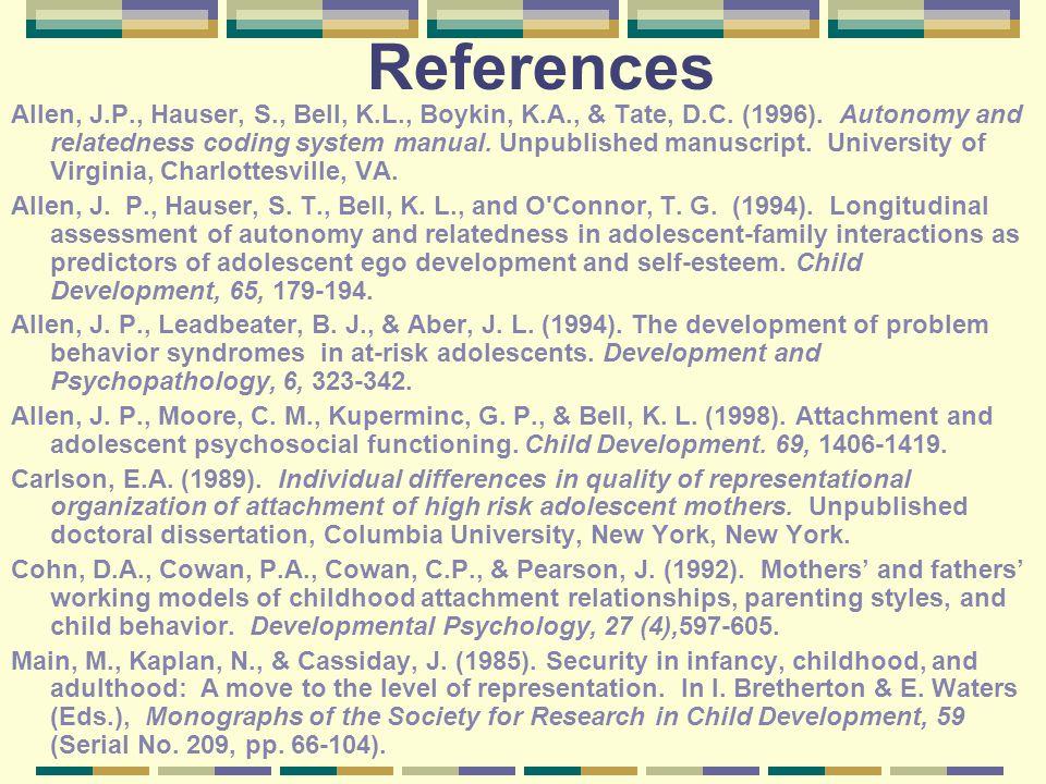 References Allen, J.P., Hauser, S., Bell, K.L., Boykin, K.A., & Tate, D.C.