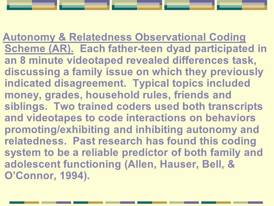 Autonomy & Relatedness Observational Coding Scheme (AR).