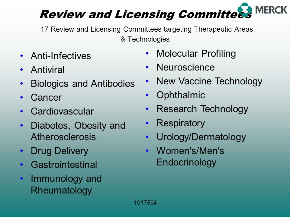 1017504 Review and Licensing Committees 17 Review and Licensing Committees targeting Therapeutic Areas & Technologies Anti-Infectives Antiviral Biolog