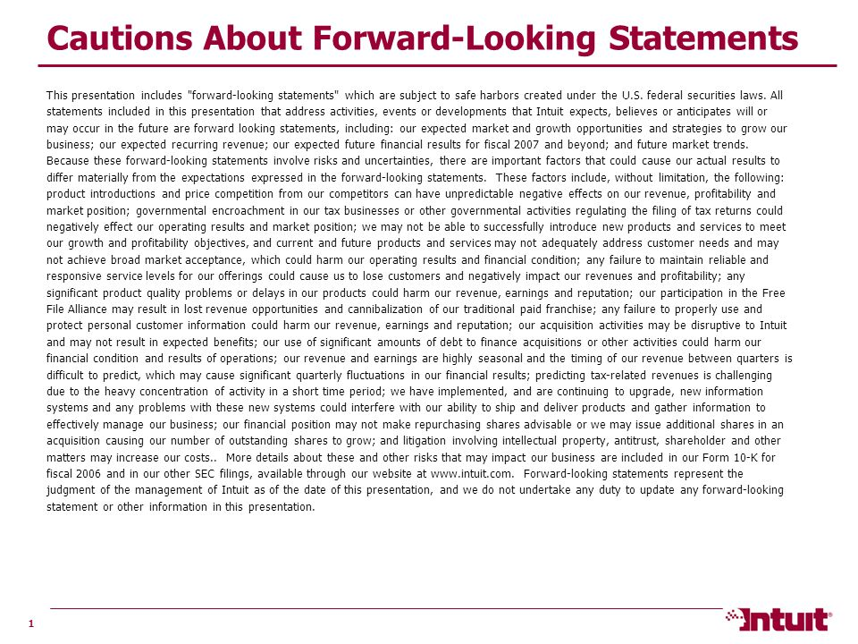 1 Cautions About Forward-Looking Statements This presentation includes forward-looking statements which are subject to safe harbors created under the U.S.