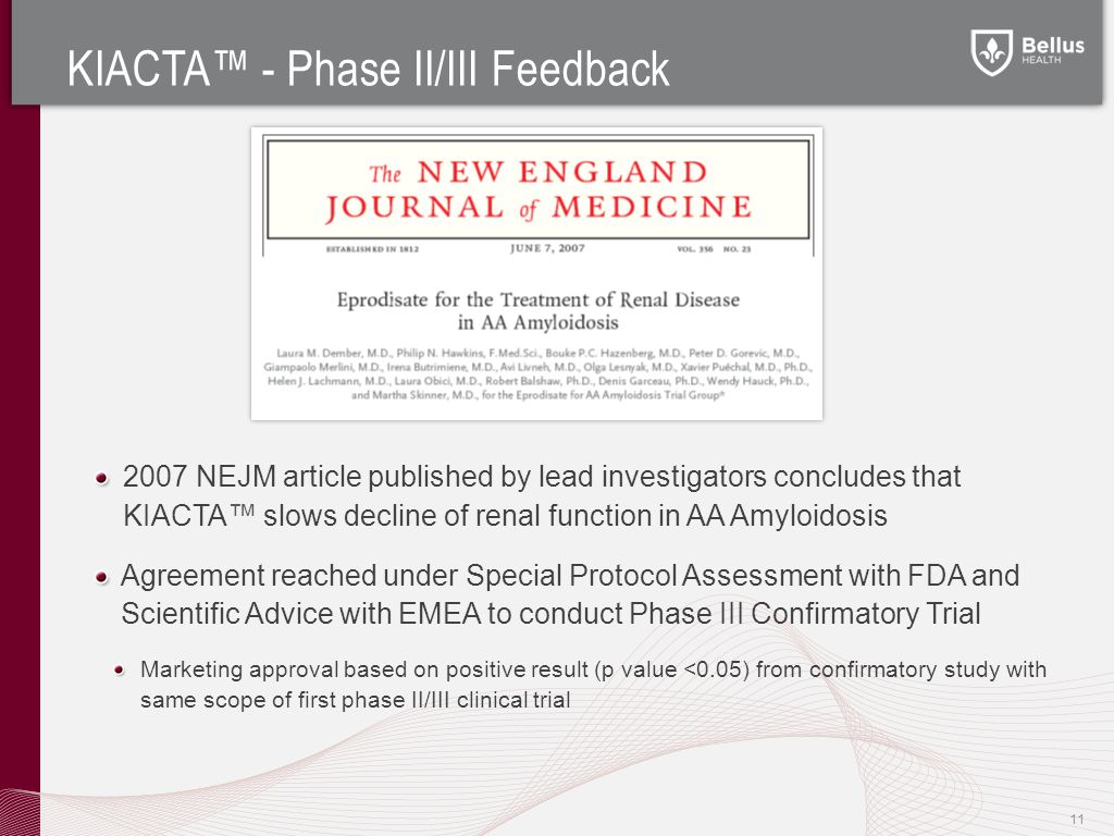 KIACTA™ - Phase II/III Feedback 2007 NEJM article published by lead investigators concludes that KIACTA™ slows decline of renal function in AA Amyloidosis Agreement reached under Special Protocol Assessment with FDA and Scientific Advice with EMEA to conduct Phase III Confirmatory Trial Marketing approval based on positive result (p value <0.05) from confirmatory study with same scope of first phase II/III clinical trial 11