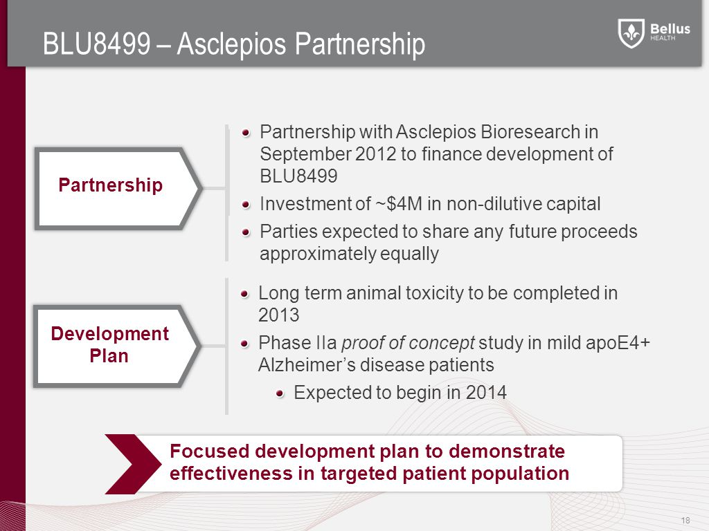 BLU8499 – Asclepios Partnership 18 Long term animal toxicity to be completed in 2013 Phase IIa proof of concept study in mild apoE4+ Alzheimer's disease patients Expected to begin in 2014 Focused development plan to demonstrate effectiveness in targeted patient population Development Plan Partnership with Asclepios Bioresearch in September 2012 to finance development of BLU8499 Investment of ~$4M in non-dilutive capital Parties expected to share any future proceeds approximately equally Partnership