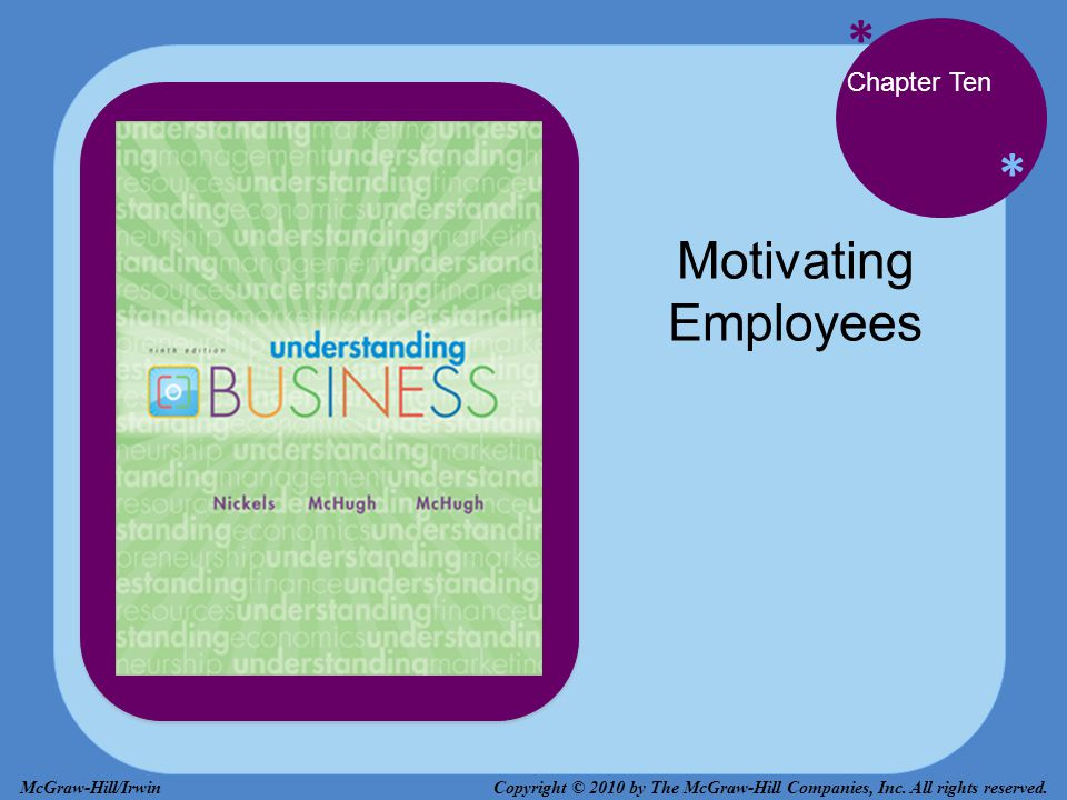* * Chapter Ten Motivating Employees Copyright © 2010 by The McGraw-Hill Companies, Inc. All rights reserved.McGraw-Hill/Irwin