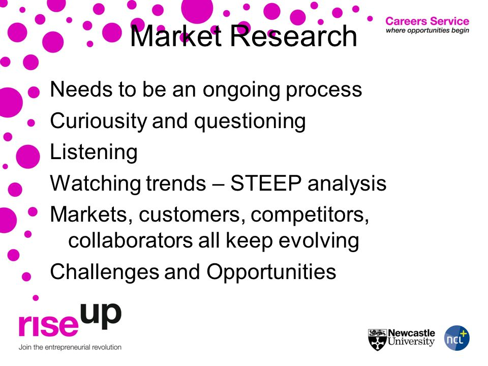 Market Research Needs to be an ongoing process Curiousity and questioning Listening Watching trends – STEEP analysis Markets, customers, competitors, collaborators all keep evolving Challenges and Opportunities