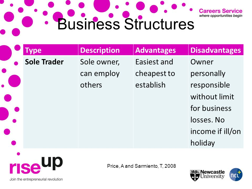 Business Structures TypeDescriptionAdvantagesDisadvantages Sole TraderSole owner, can employ others Easiest and cheapest to establish Owner personally responsible without limit for business losses.