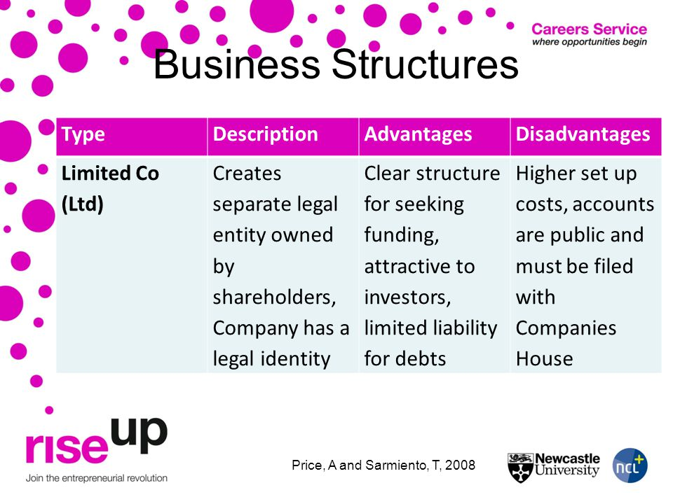 Business Structures TypeDescriptionAdvantagesDisadvantages Limited Co (Ltd) Creates separate legal entity owned by shareholders, Company has a legal identity Clear structure for seeking funding, attractive to investors, limited liability for debts Higher set up costs, accounts are public and must be filed with Companies House Price, A and Sarmiento, T, 2008