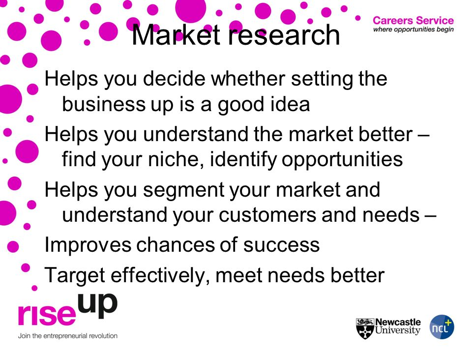 Market research Helps you decide whether setting the business up is a good idea Helps you understand the market better – find your niche, identify opportunities Helps you segment your market and understand your customers and needs – Improves chances of success Target effectively, meet needs better