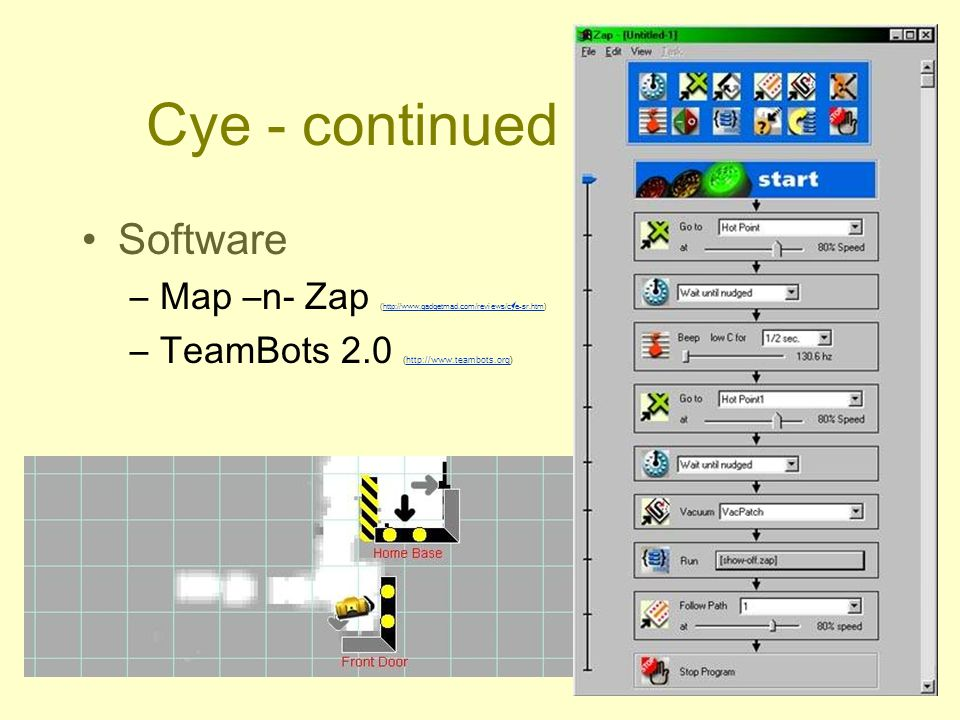 Cye - continued Software –Map –n- Zap (http://www.gadgetmad.com/reviews/cye-sr.htm)http://www.gadgetmad.com/reviews/cye-sr.htm –TeamBots 2.0 (http://w