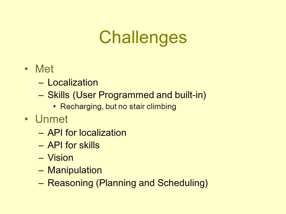 Challenges Met –Localization –Skills (User Programmed and built-in) Recharging, but no stair climbing Unmet –API for localization –API for skills –Vision –Manipulation –Reasoning (Planning and Scheduling)