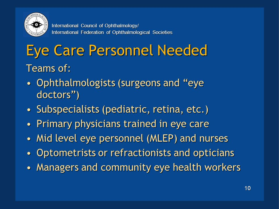 International Council of Ophthalmology/ International Federation of Ophthalmological Societies 10 Eye Care Personnel Needed Teams of: Ophthalmologists (surgeons and eye doctors )Ophthalmologists (surgeons and eye doctors ) Subspecialists (pediatric, retina, etc.)Subspecialists (pediatric, retina, etc.) Primary physicians trained in eye carePrimary physicians trained in eye care Mid level eye personnel (MLEP) and nursesMid level eye personnel (MLEP) and nurses Optometrists or refractionists and opticiansOptometrists or refractionists and opticians Managers and community eye health workersManagers and community eye health workers