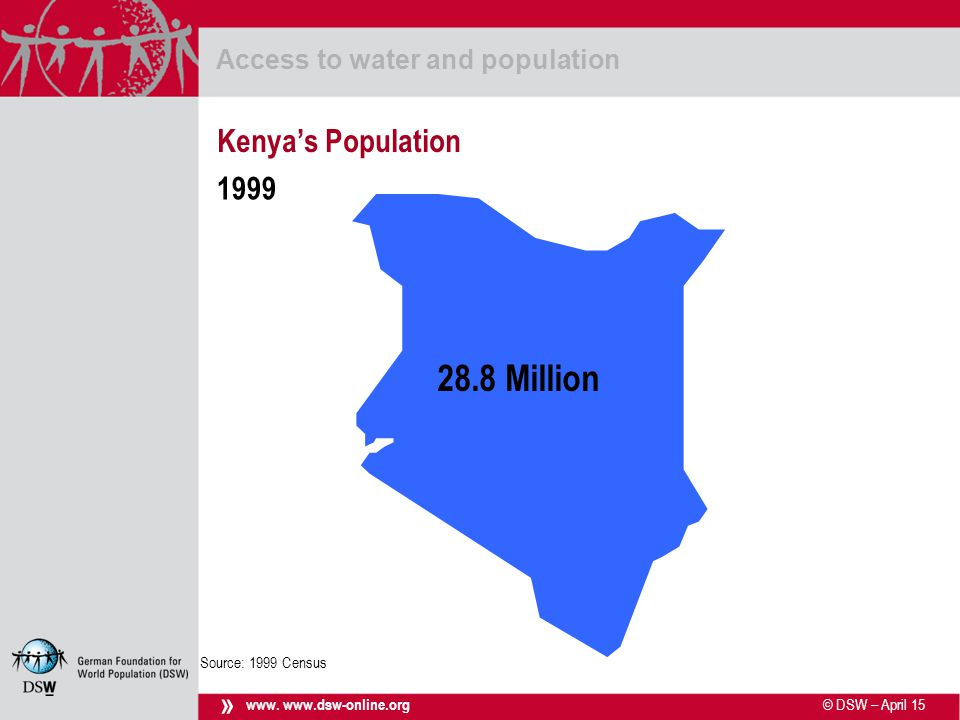 © DSW – April 15 Access to water and population www.