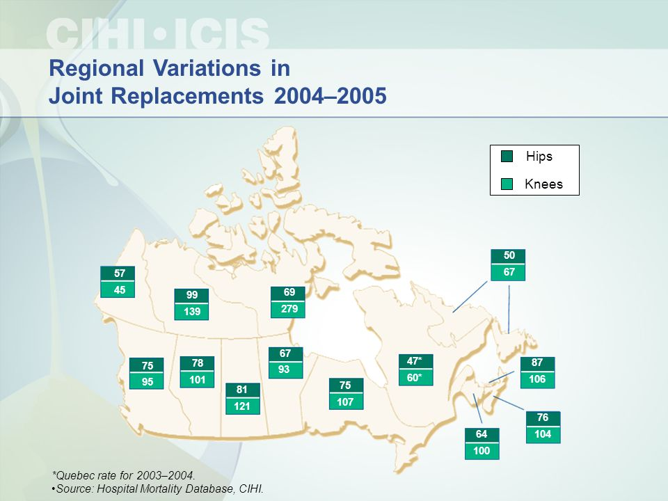 Regional Variations in Joint Replacements 2004–2005 Knees Hips 75 95 78 101 81 121 67 93 75 107 64 100 76 104 87 106 47* 50 67 57 45 99 139 69 279 60*