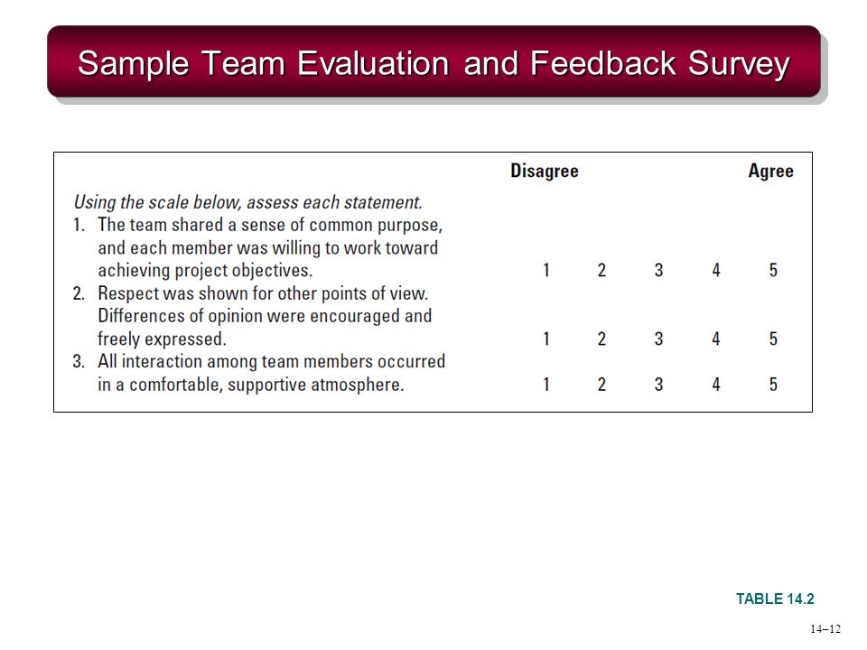 Sample Team Evaluation and Feedback Survey TABLE 14.2 14–12