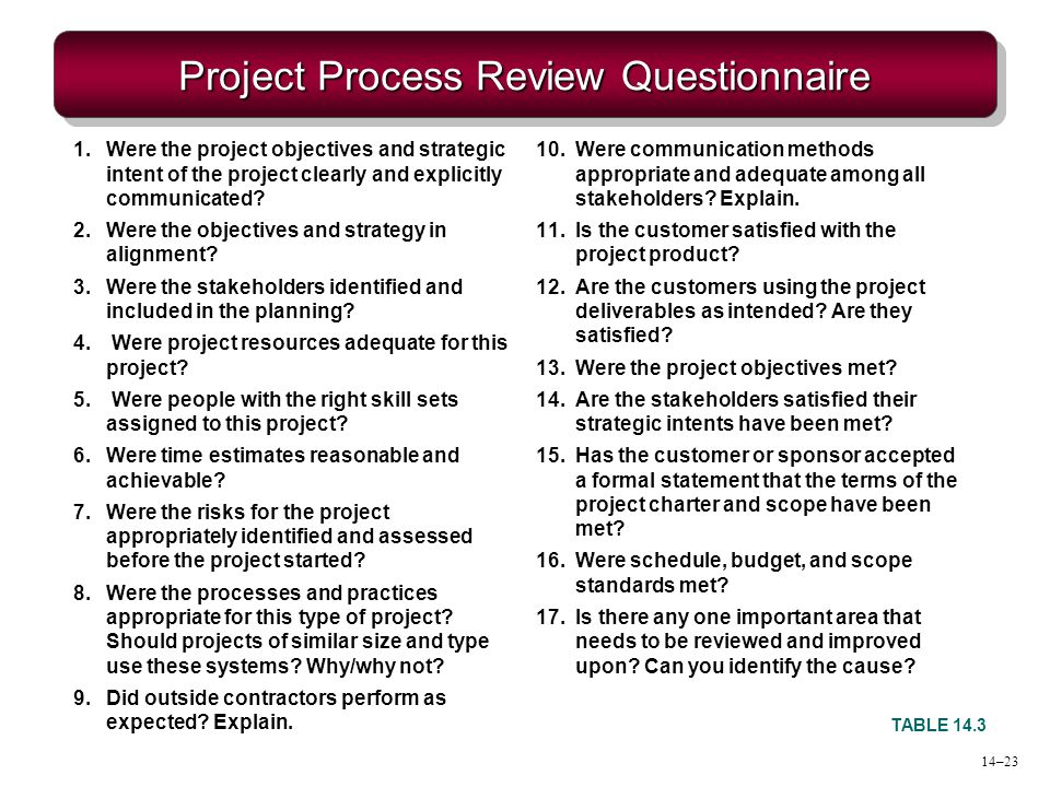 Project Process Review Questionnaire TABLE 14.3 1.Were the project objectives and strategic intent of the project clearly and explicitly communicated?