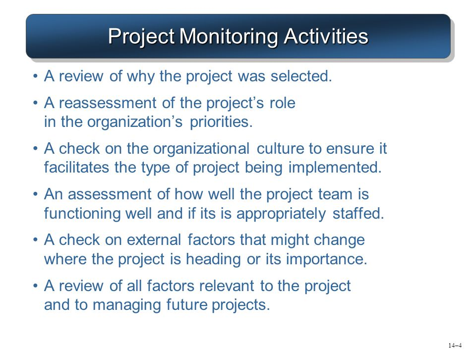 Project Monitoring Activities A review of why the project was selected. A reassessment of the project's role in the organization's priorities. A check