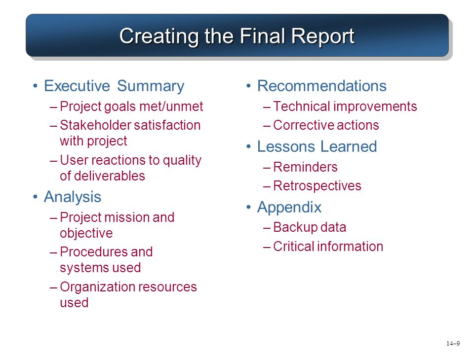 Creating the Final Report Executive Summary –Project goals met/unmet –Stakeholder satisfaction with project –User reactions to quality of deliverables