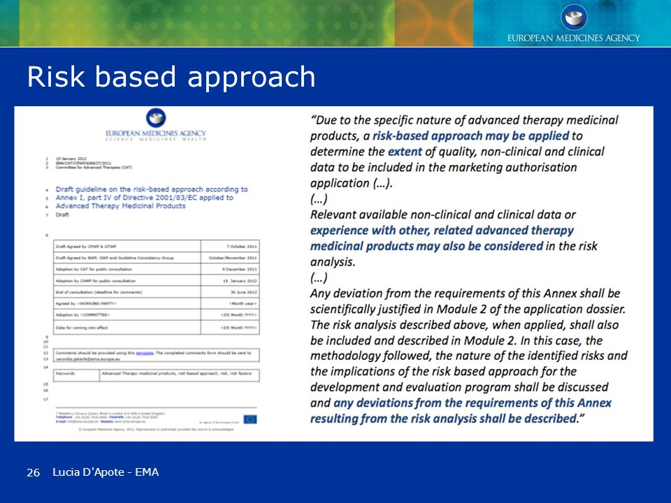 Risk based approach Lucia D'Apote - EMA 26