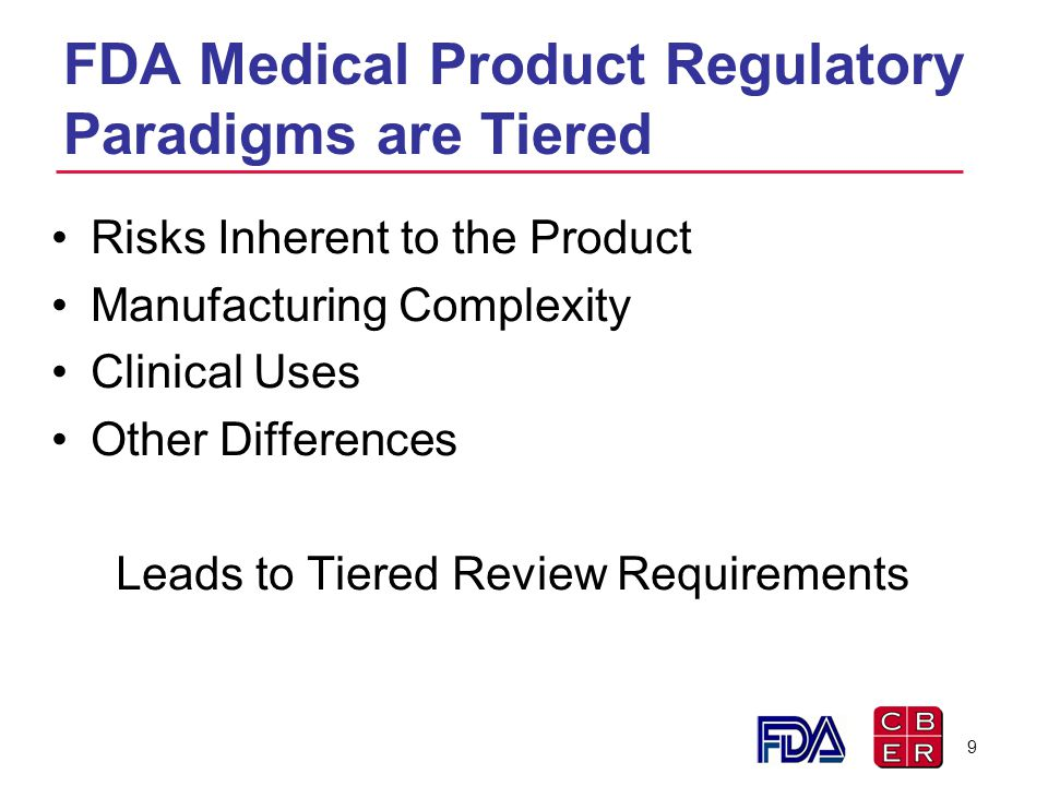 FDA Medical Product Regulatory Paradigms are Tiered Risks Inherent to the Product Manufacturing Complexity Clinical Uses Other Differences Leads to Ti