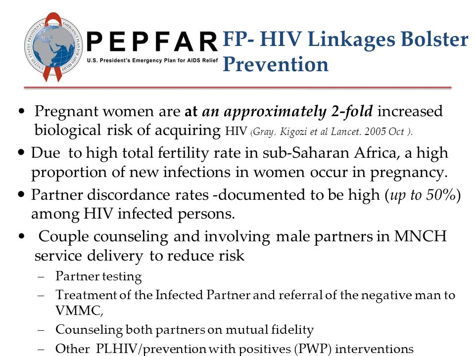 FP- HIV Linkages Bolster Prevention Pregnant women are at an approximately 2-fold increased biological risk of acquiring HIV ( Gray, Kigozi et al Lancet.
