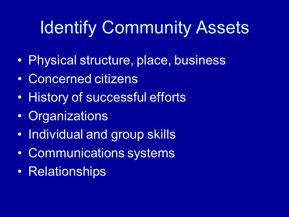 Identify Community Assets Physical structure, place, business Concerned citizens History of successful efforts Organizations Individual and group skil
