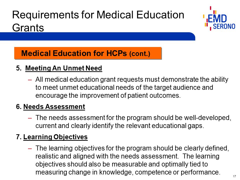 17 Requirements for Medical Education Grants 5.