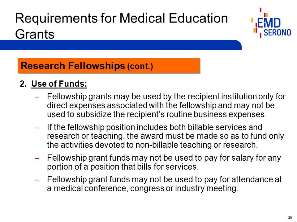 25 Requirements for Medical Education Grants 2.