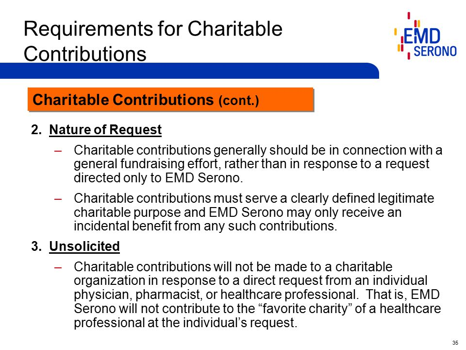 35 Requirements for Charitable Contributions 2.